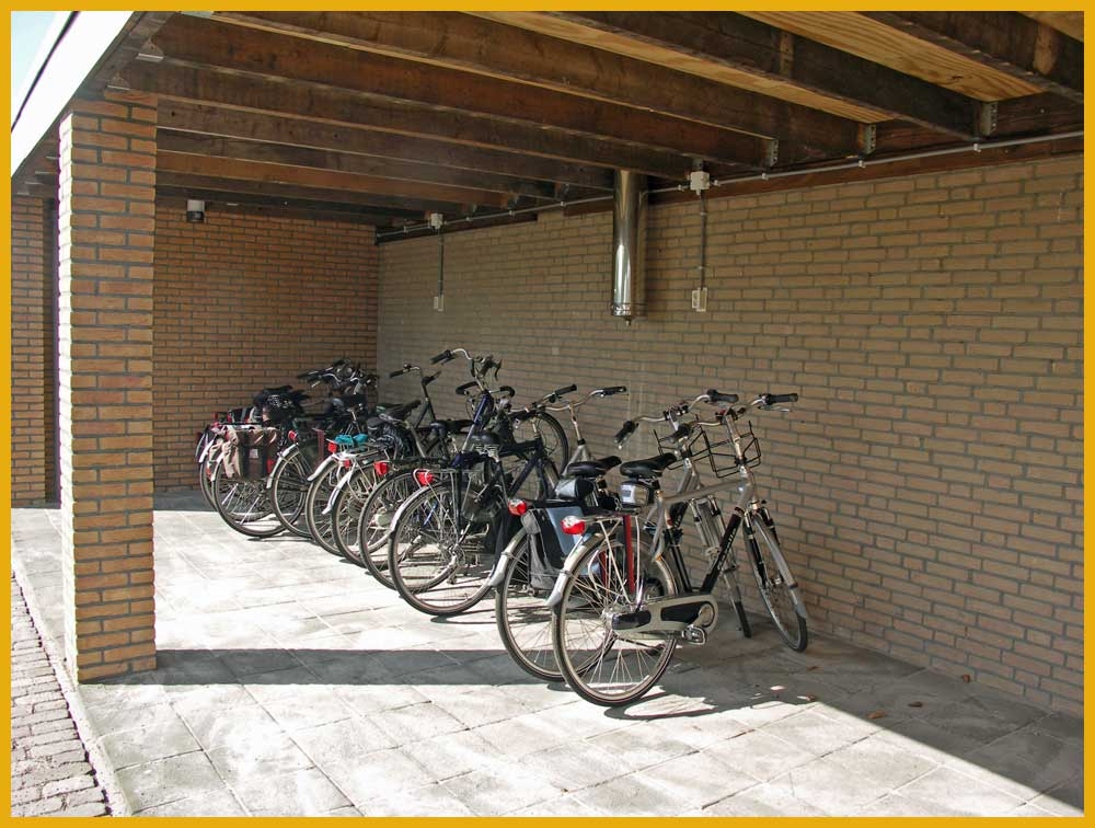 Aldörrum ׀ Covered bike shelter at Aldörrum logementen-camping in Aarle-Rixtel in the neighbourhood of Helmond, Eindhoven, Veghel, Uden, 's-Hertogenbosch, Southeast-Brabant, Brainport.